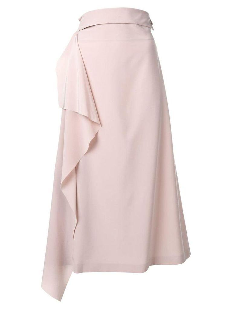 Maison Flaneur ruffle side midi skirt - Pink