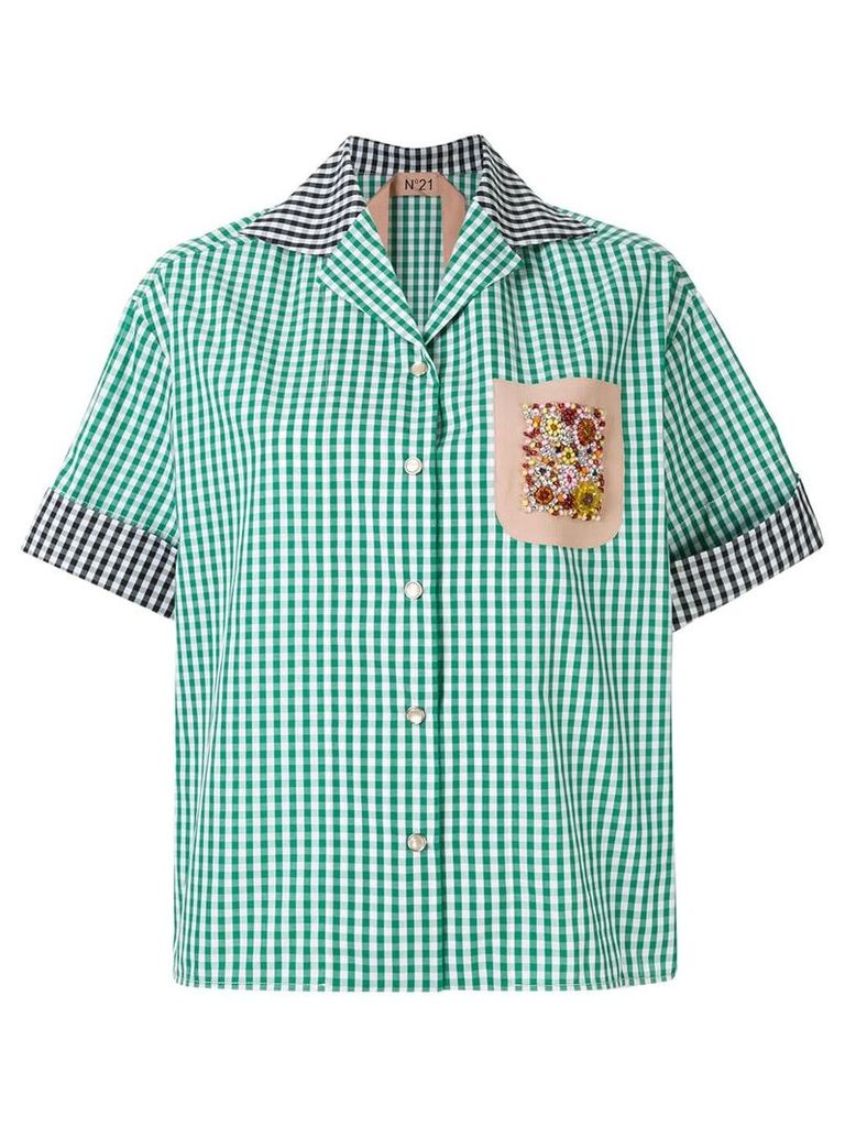 No21 embellished chest pocket check shirt - Green