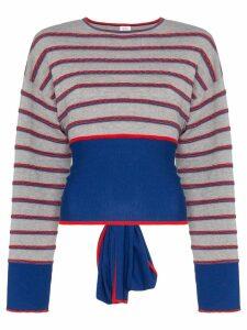 Rosie Assoulin Ottoman stripe cutout wool jumper - Grey
