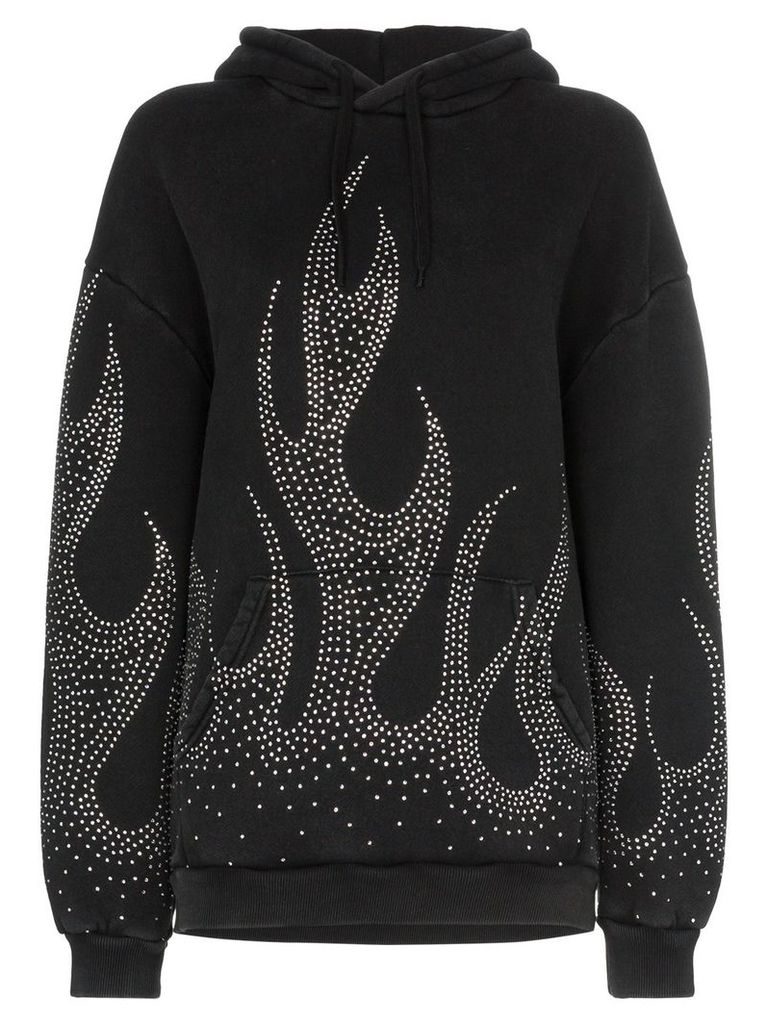 Filles A Papa crystal-embellished flame motif cotton hoodie - Black