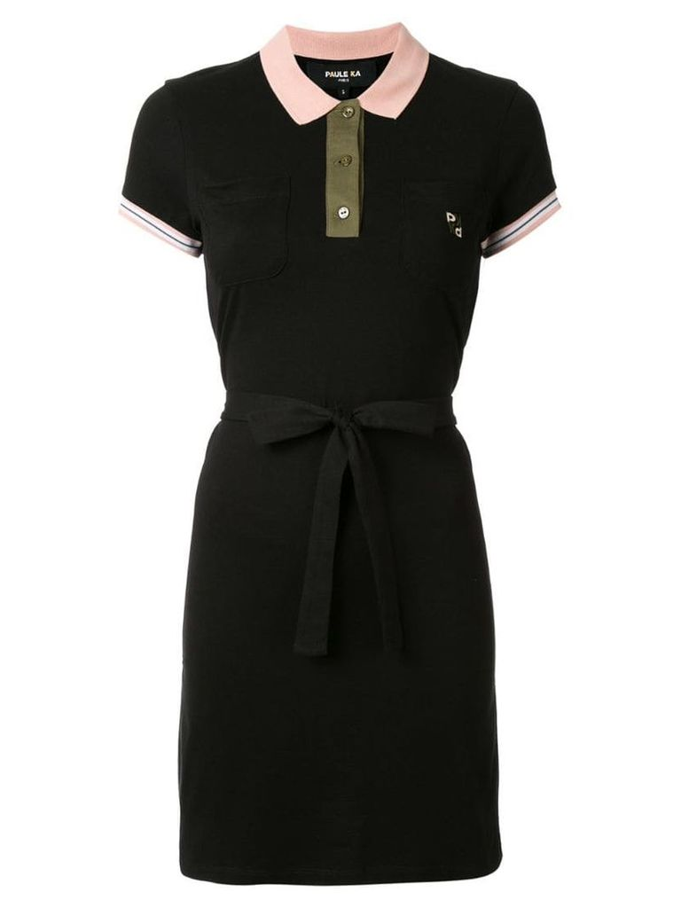 Paule Ka short-sleeve polo dress - Black