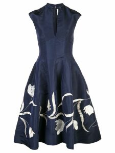 Oscar de la Renta tulip embroidered cocktail dress - Blue