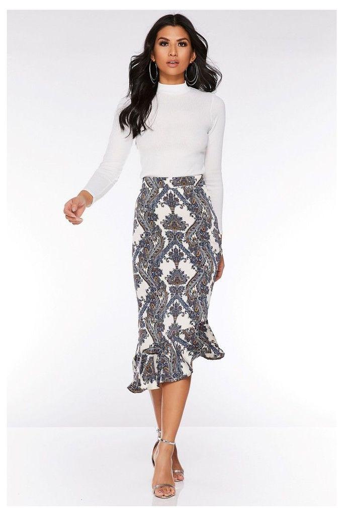 Womens Quiz Printed Midi Skirt -  Cream