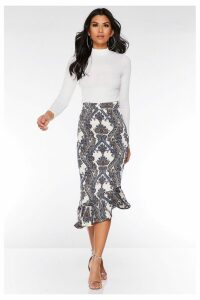 Womens Quiz Printed Midi Skirt -  Cream