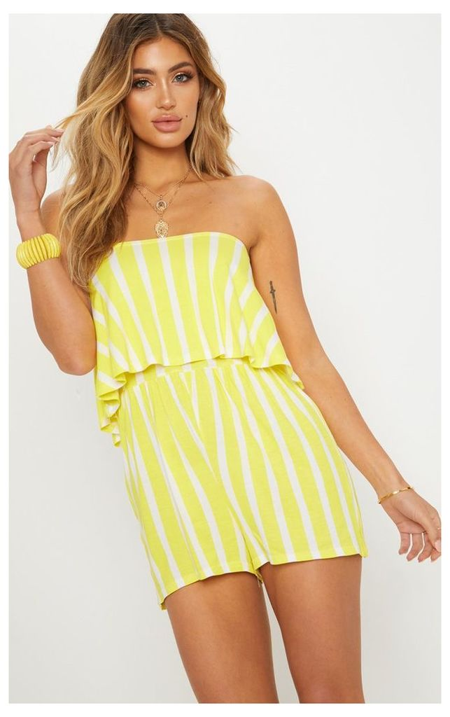 Yellow Striped Bandeau Layered Playsuit, Yellow