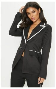 Black Contrast Trim Woven Blazer, Black