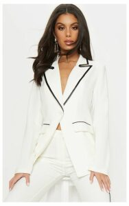 Cream Contrast Trim Woven Blazer, White