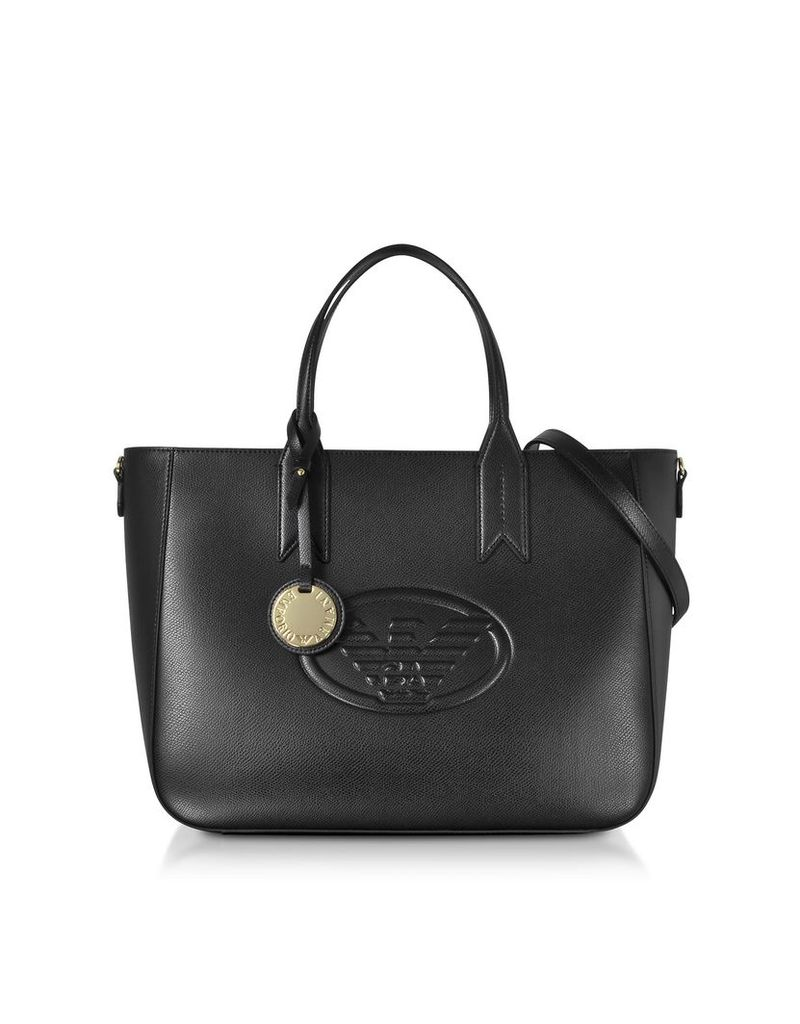 Emporio Armani Medium Embossed Eco Leather Tote Bag