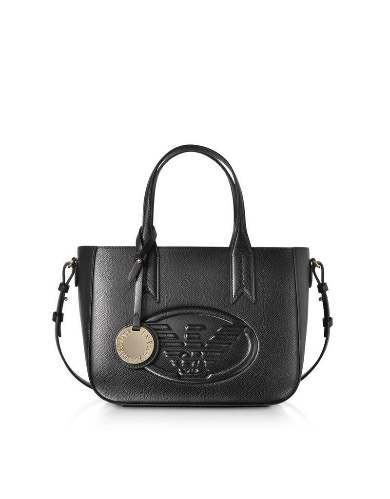 Emporio Armani Small Embossed Eco Leather Tote Bag