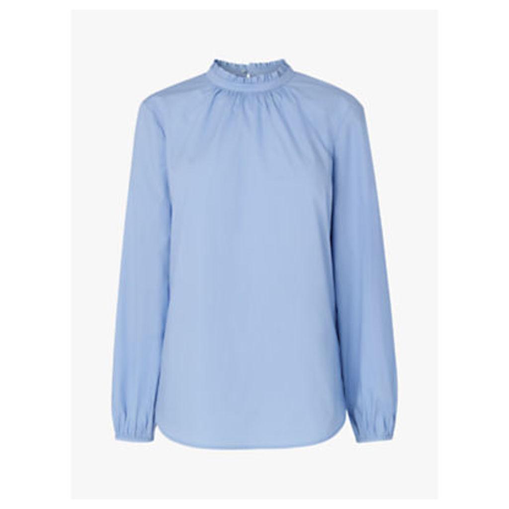 L.K.Bennett Elisha Pleated Neck Shirt, Blue Cornflower