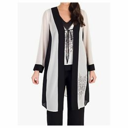 Chesca Contrast Trim Embroidered Chiffon Coat, Black/Ivory