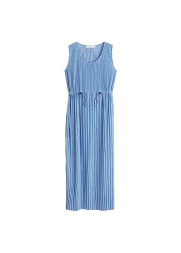 Elastic waist pleated dress