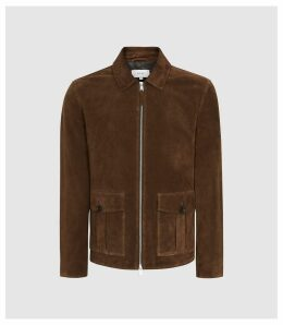 Reiss Andreas - Suede Blouson Jacket in Brown, Mens, Size XXL