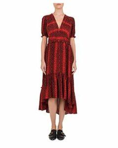 The Kooples Red Hot Snake-Print Midi Dress