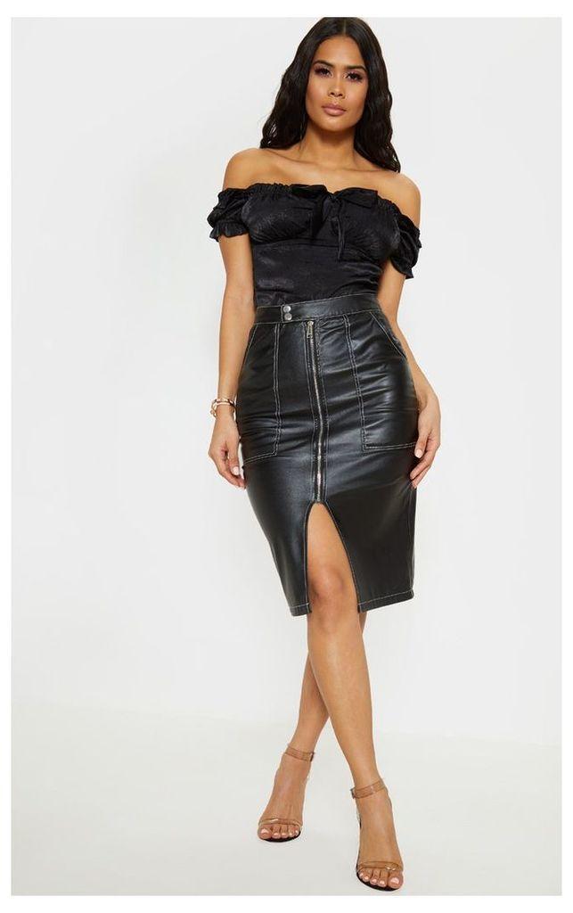 Black Faux Leather Contrast Stitch Midi Skirt, Black