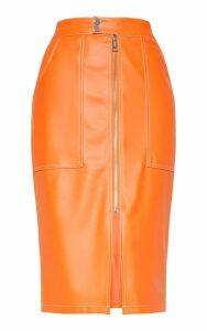 Orange Faux Leather Contrast Stitch Midi Skirt, Orange