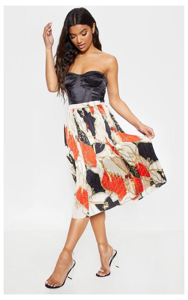 Cream Chain Print Pleated Midi Skirt, White