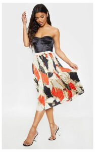 Cream Chain Print Pleated Midi Skirt, White