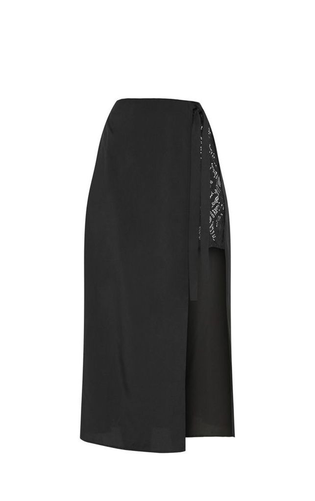 Black Lace Panel Wrap Over Skirt, Black