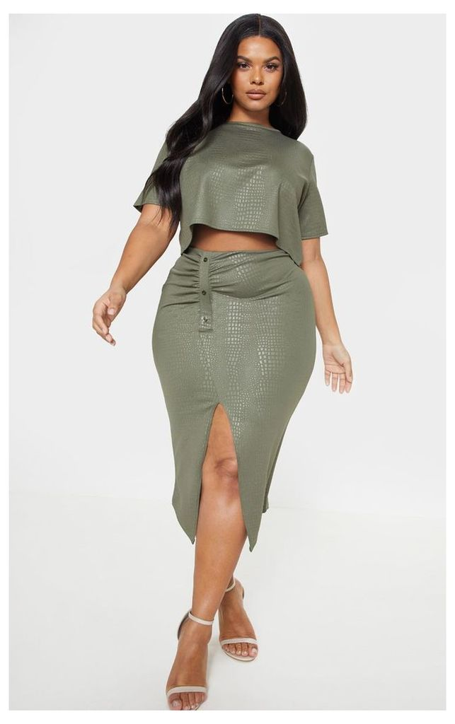 Plus Khaki Textured Split Detail Midi Skirt, Green