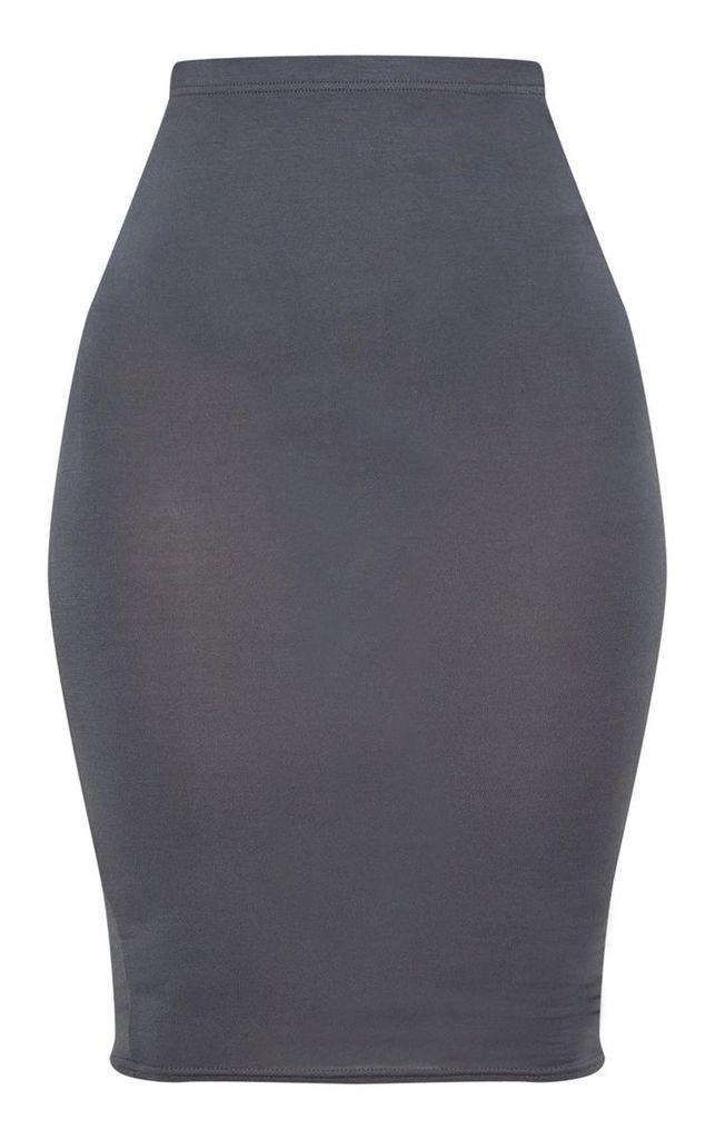 Charcoal Grey Basic Midi Skirt, Charcoal Grey