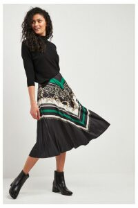 Womens F&F Green Chain Pleat Skirt -  Green
