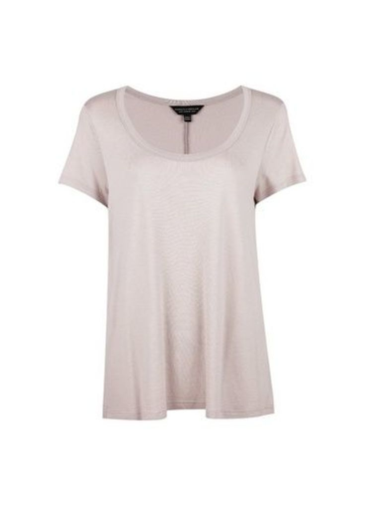 Womens Silver Scoop T-Shirt- Silver, Silver