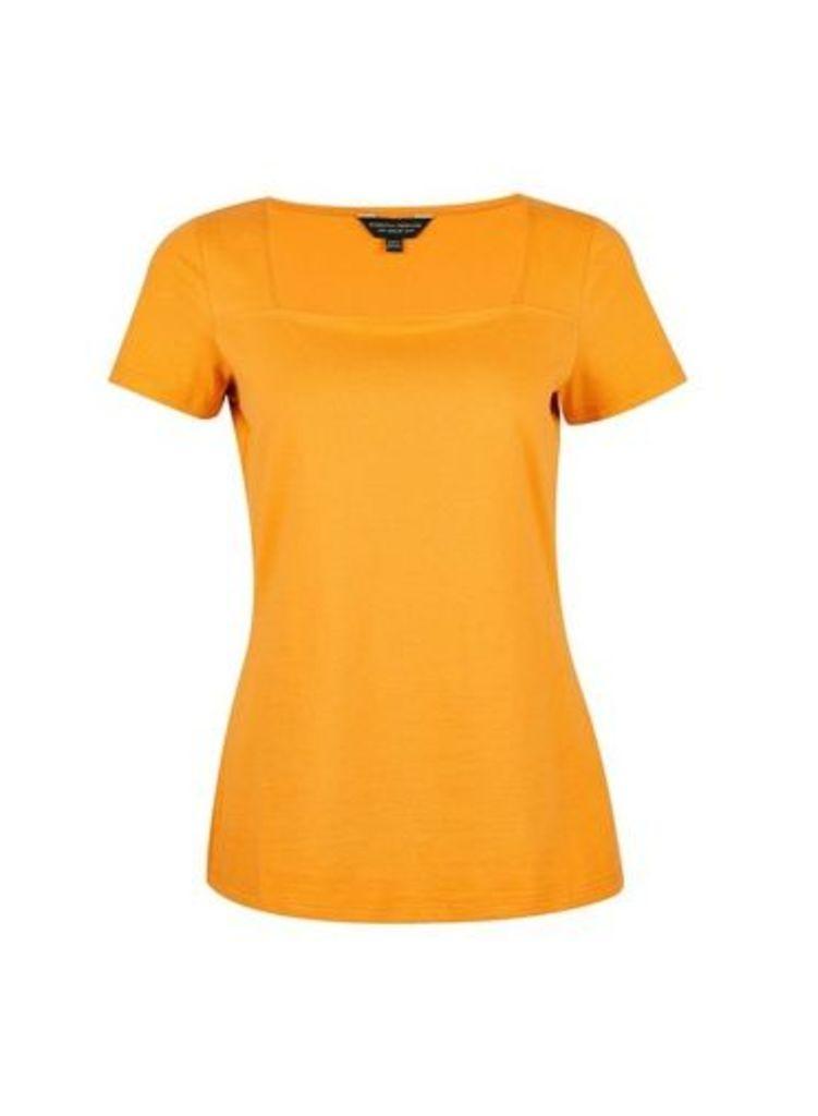 Womens Ochre Square Neck T-Shirt- Orange, Orange