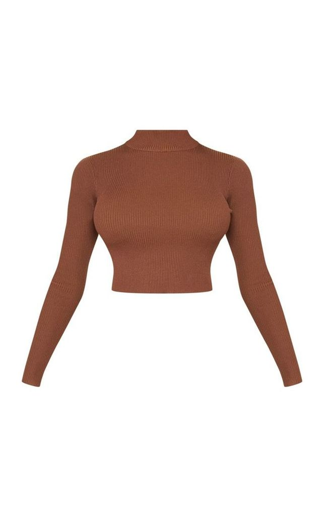 Tall Brown Fitted Crop Knit Top, Brown