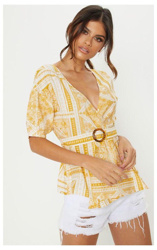 Mustard Paisley Plunge Belt Detail Bardot Top, Yellow