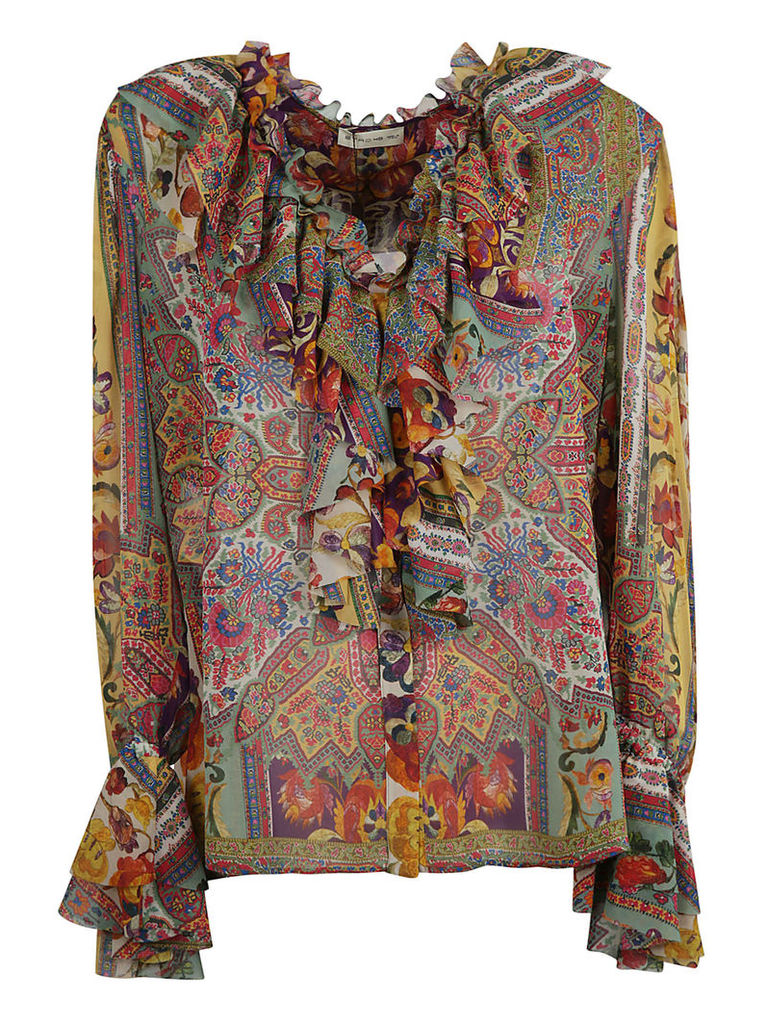 Etro Printed Ruffled Blouse