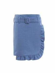 Prada Belted Ruffle Trim Skirt