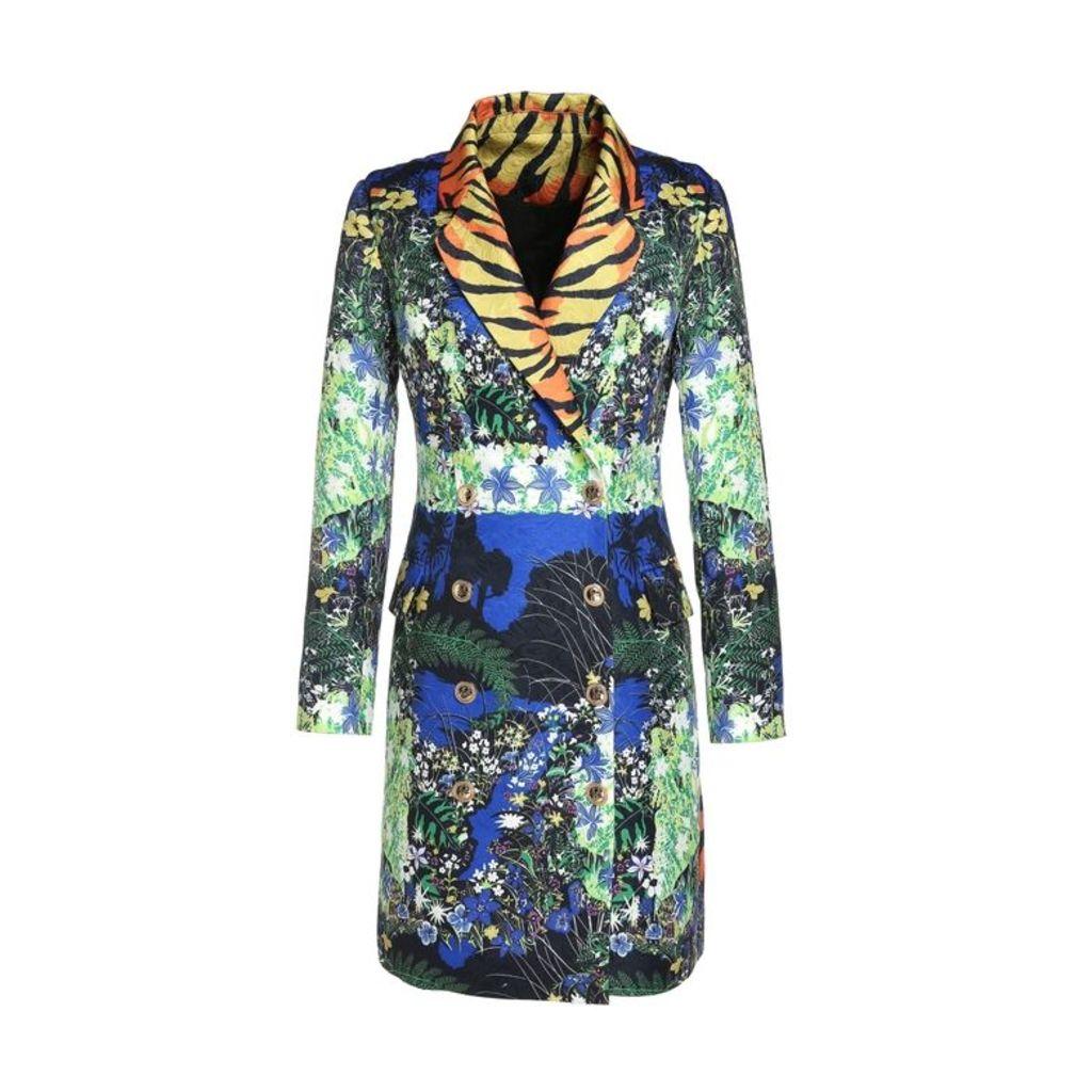 Comino Couture Comino Couture Jungle Fantasy Tiger Striped Collar Blazer Dress