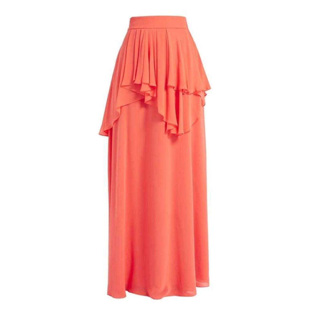 WtR Dora Coral Layered Silk Maxi Skirt
