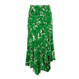 Veronica Beard Mac Floral-print Stretch-silk Skirt