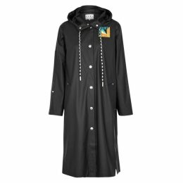 Proenza Schouler Black Hooded Rubberised Coat