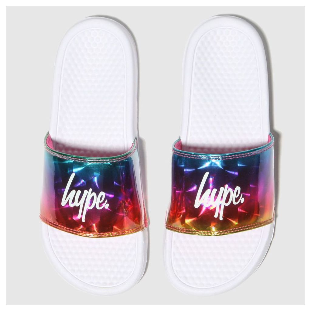 Hype White & Blue Holographic Slider Sandals