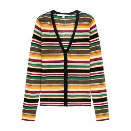 Veronica Beard Keke Striped Fine-knit Cardigan