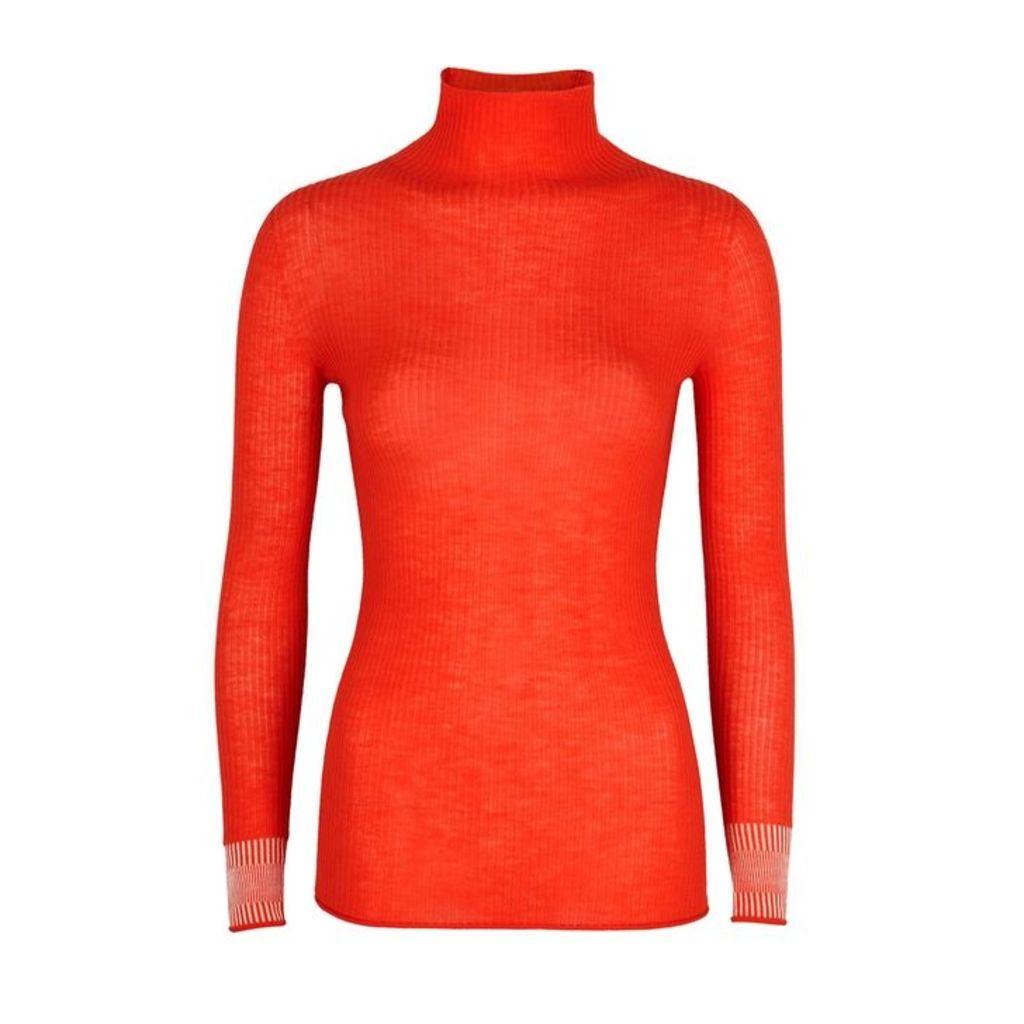 Victoria, Victoria Beckham Orange Ribbed-knit Wool Top