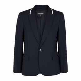 Emporio Armani Navy Contrast-collar Blazer