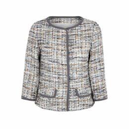 Herno Grey Metallic Tweed Jacket