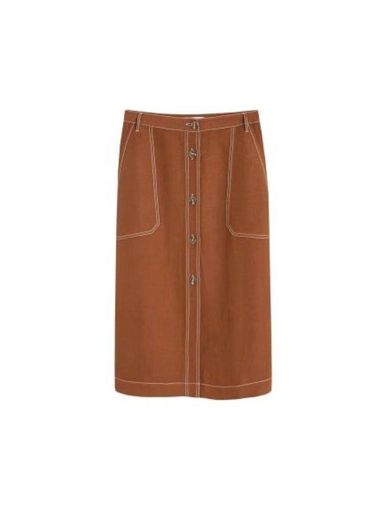 Contrast seam linen-blend skirt