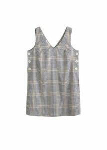 Buttoned check dress