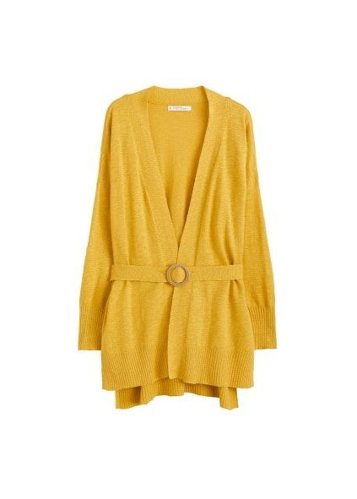 Belted cotton cardigan