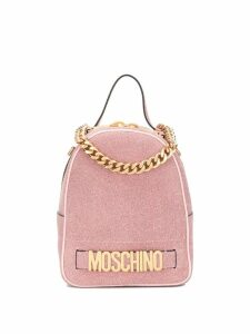 Moschino glitter-effect logo backpack - Pink