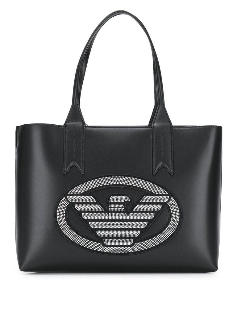 Emporio Armani studded logo shopper tote - Black