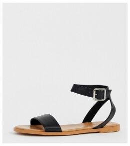 ASOS DESIGN Wide Fit Viva flat sandals-Black