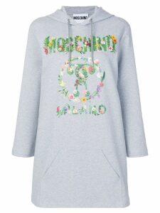 Moschino floral print logo hoodie - Grey