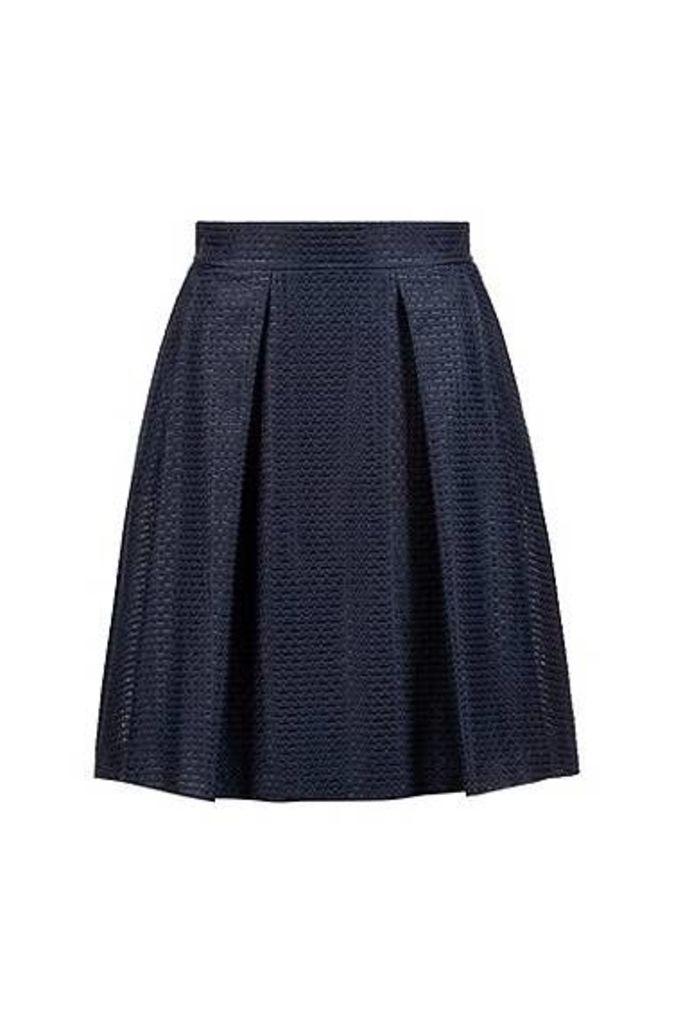 High-waisted A-line skirt in a structured cotton blend