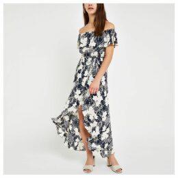 Womens Petite Blue floral bardot maxi dress